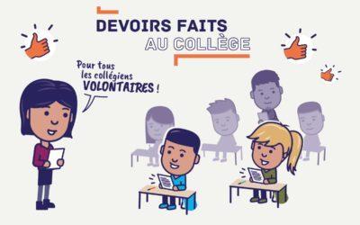 Dispositif «devoirs faits»-Année scolaire 2018/2019
